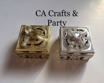 Plastic Jewelry boxes 12 PCS gold or silver- wedding favor boxes- jewelry gift boxes- wedding keepsakes- party favor boxes.