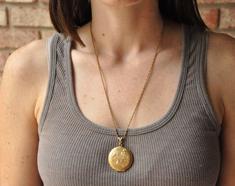 Vintage Gold Bamboo Locket Pendant Necklace, *PRICE REDUCED* BAB 1/20 12k Barton A. Ballou w/Original Gold Chain Jewelry