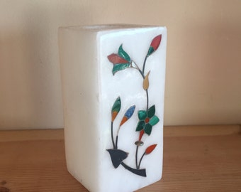 Vintage Soapstone Candleholder Candlestick with Beautiful Mother of Pearl Floral Inlay Detail
