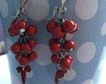 "Earrings ""grenade"" beads"