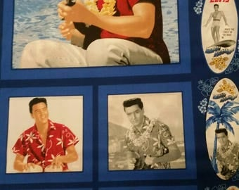 Elvis Hawaiian Pillow Panel in Blue  From VIP- 2 pillows front and back in each panel.