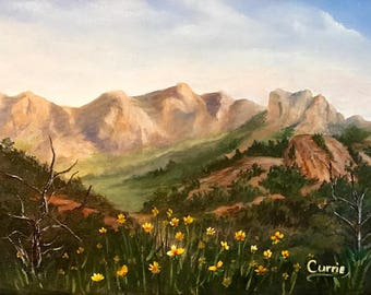 Big Bend Oil Painting, El Capitan, Yellow Flowers in Big Bend Valley, Original Oil Painting, Home Decor, Wall Art,