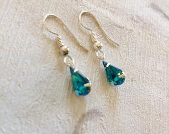 Blue Rhinestone Earrings, Silver Earrings, Bridal Blue Earrings, Silver Drop Earrings, Crystal Jewellery, Blue Celebration Earrings.