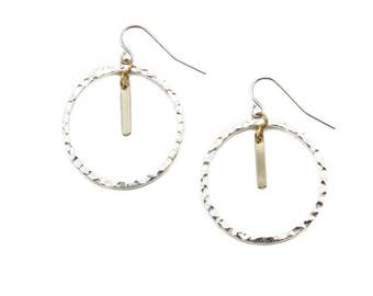 Contrast hoop dangle earring - Gold on Silver