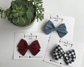 Sailor Bows, Wine, Chambray and Black & White Gingham on Headband Or Clip
