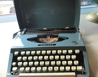 Vintage Brother Portable Manual Typewriter in Blue