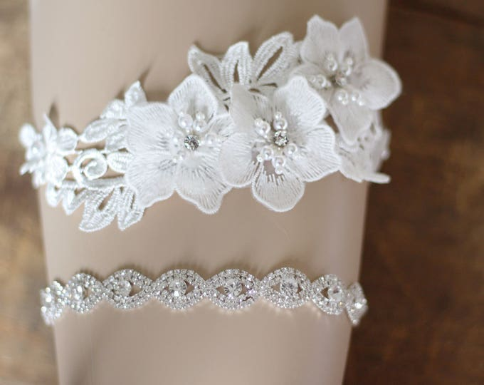 Crystal Wedding Garter set, floral garter, NO SLIP grip vintage rhinestones, custom garter, simple garter, rhinestone garter