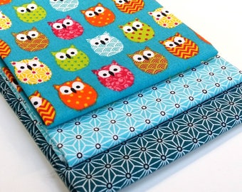 Batch of 3 coupons 50 cm x 50 cm fabric multicolored owls turquoise, fabric asanoha turquoise, fabric-Star Blue duck asanoha