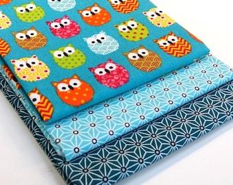3 coupons Fat Quarter 50 cm fabric cmx50 owls multicolor turquoise - OWL + saki star Japanese asanoha turquoise + teal saki