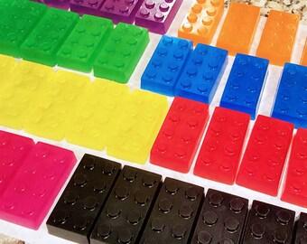 ORGANIC LEGO SOAP ~ Set of Fruity Fun! / All Organic Oils / Aloe / Phthalate Free / Gluten Free / Vegan / Great Party Favors!