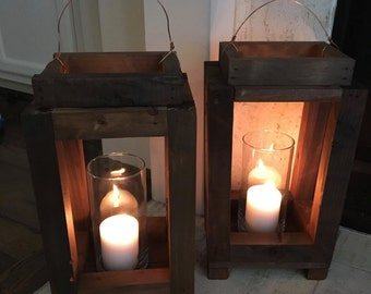 Rustic Handmade Reclaimed Wood Candle Lantern Home Decor Shabby Chic