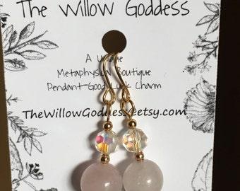 Rose quartz and Crystal Drop Earrings