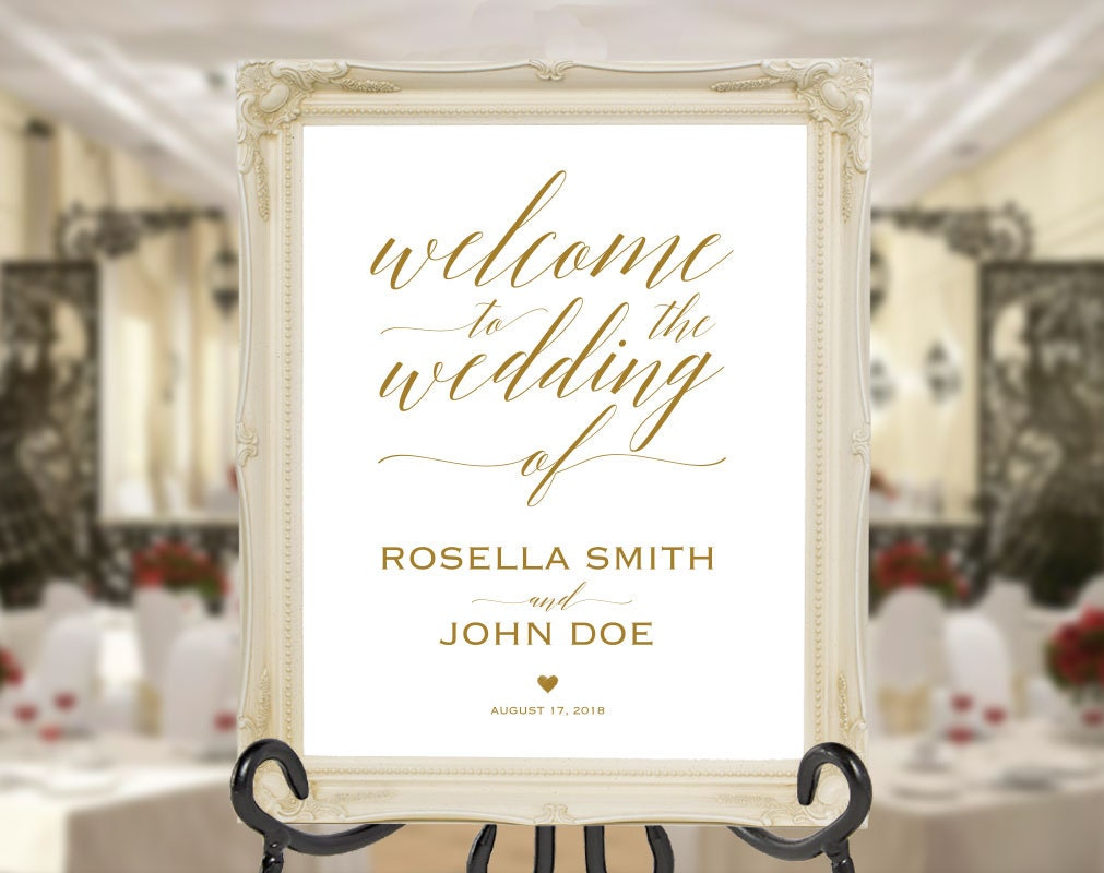 gold wedding welcome sign template welcome to our wedding