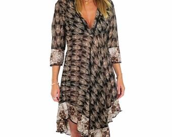 Summer dress, asymmetric, printed, cotton