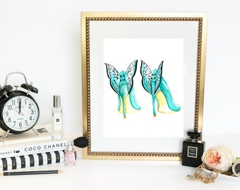 Watercolor Fashion Print, Digital Fashion Illustration,Butterfly shoes