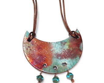 Raku Pottery Pendant - Raku Jewelry Necklace with Earth Tones Copper, Red, Purple, and Green and Copper Beads. Boho Jewelry. Jewelry Gift.