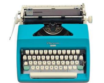 Aqua blue typewriter Olympia Monica