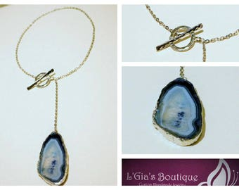 Genuine Blue Stone Pendant on a Stainless Steel Chain, Y Necklace, Lariat Necklace, Silver Necklace