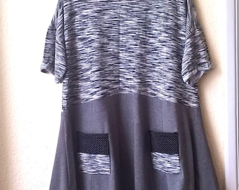 Cute Frock! Dress / Tunic Top. Grey/Black/White. Size large / xl. Recycled Clothing.