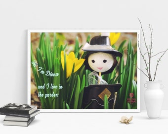 Doll with hat print, fairy, spring, quotes, artwork, color photography, fantasy, instant download