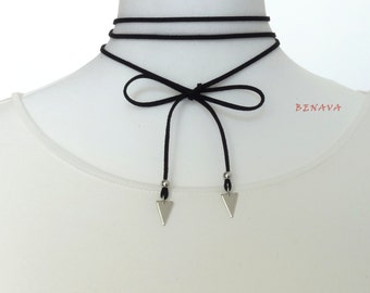 Choker necklace silver geometric triangle