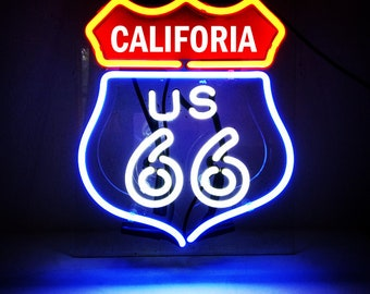 Handmade Route 66 California State CA Beer Bar Pub Neon Light Sign