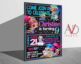 Shimmer and Shine Birthday Invitation, Shimmer and Shine Birthday, Shimmer and Shine Invitation, Shimmer and Shine Printable, Birthday