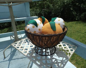 Basket of Hand Sewn Plush Oranges