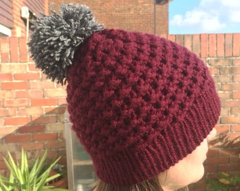 Burgundy Knitted Woollen Hat with Grey Pom-pom and Lining.