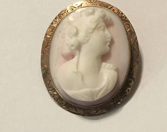 10k yellow gold cameo brooch pendant 1920's era