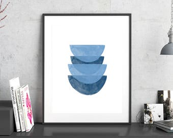 Indigo Blue Watercolor Abstract Prints Geometric Art Blue and White Decor Scandinavian Posters Large  Printable Art Minimalist Art Navy