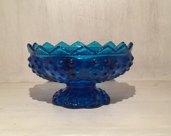 Vintage Fenton Hobnail Glass Handle Colder in Colonial Blue