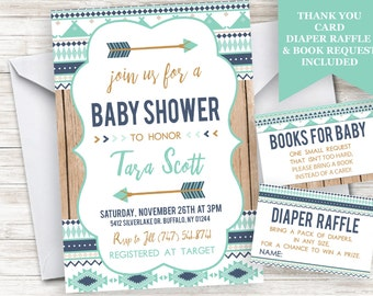 Aztec Boy Baby Shower Invitation Invite Tribal Indian Arrows Personalized Blue Digital 5x7 Sprinkle