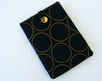 "Kindle Fire Cover Case, IPad Mini Cover Sleeve, Nook Case, Tablet Cover Sleeve, Metallic Gold Circles on Black Print, 8 1/4""x 5 3/4"""