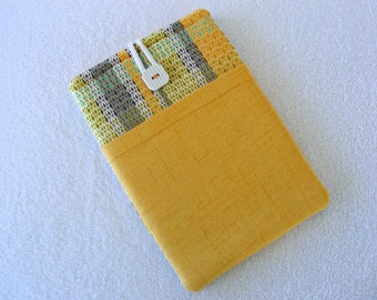 "Colorful Yellow Plaid, Kindle Cover, IPad Mini Cover, IPad Mini Case, Kindle Fire Case, Kindle Fire Cover, Nook HD Cover, 8 1/2""x 5 3/4"""