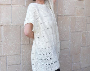 Spring Cream Ivory Loose Fit Oversize Women Sweater Tunic Jumper Short Sleeves White Alpaca Wool Plus Size HandKnit Pullover
