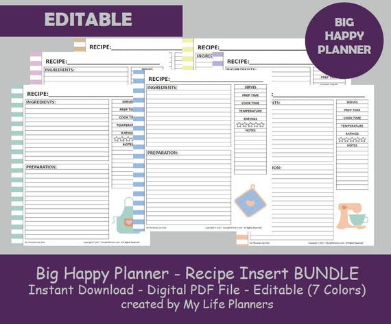 Lively image pertaining to happy planner recipe printable