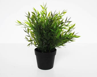 Small Plant in Pot Artificial Leaves Hight Quality Plastic Supply Green Black Simulation Sculpture Planter Composition Home Decor Craft