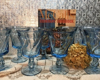 Fostoria Jamestown Blue Stemware/Set of Eleven/Swirl Design