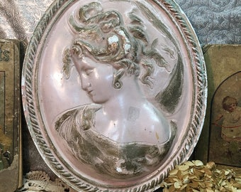 Antique Chalkware Wall Hanging/Lady/Victorian/Pink/Bust