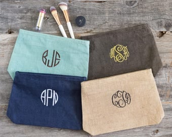 Personalized Teacher Gift, End of Year Gift for Teacher, Teacher Appreciation Gift, Monogram Cosmetic Bag, Burlap Make Up Bags, 518046716 ,