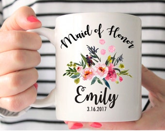 Maid of Honor Mug, Custom Wedding Mug, Maid of Honor Gift, Maid of Honor, Bridesmaids Mugs, Wedding Gift, Personalized Mug, Bridesmaid Gift