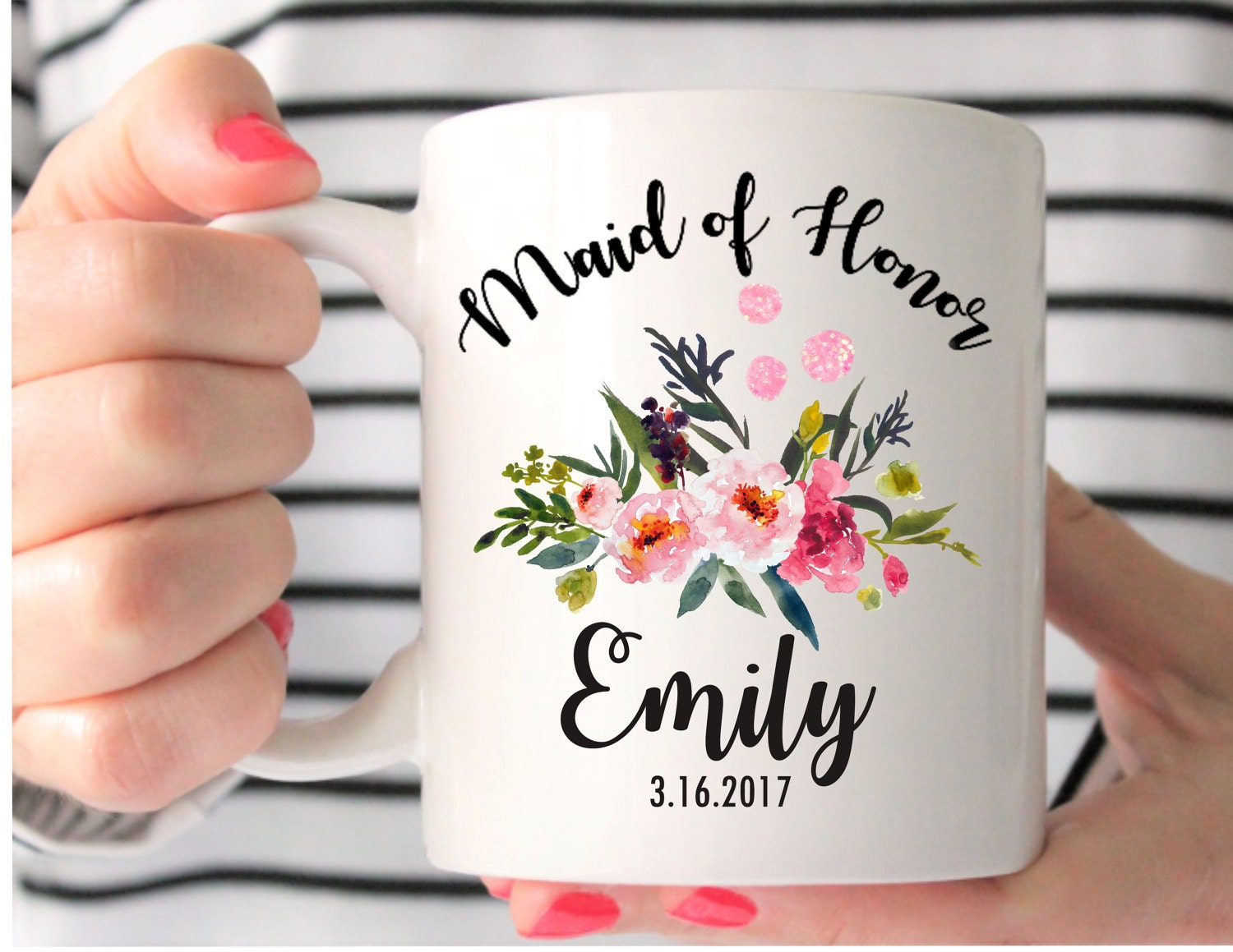 Maid Of Honor Gifts From Bride: Maid Of Honor Mug Custom Wedding Mug Maid Of Honor Gift