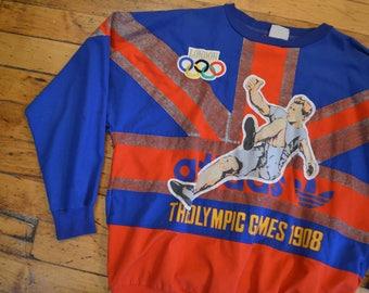 RARE!! Vintage 80s Adidas 1908/1948 Olympics Games Embroidered Unisex Crewneck Sweatshirt