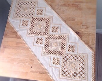 Vintage cream embroidered side table runner