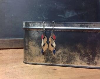 Drop Earrings - Vintage Earrings - Dangle Earrings - Red White and Blue - Silver Earrings - Mid Century Enamel Earrings - 4th of July
