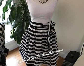 Mini/ Knee Length Skirt- Black & White Stripe