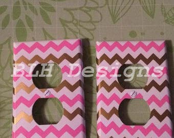 Chevron print outlet covers