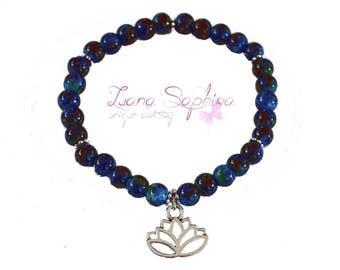 Beads Bracelet black / blue with chakra flower