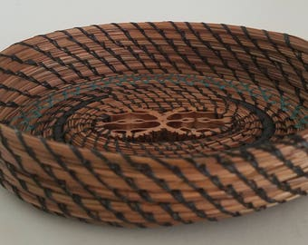 Black & Teal Blue Pine Needle Basket - Oval hand stitched with sinew Black Walnut slice - Candy, jewelry, dresser - Made in FL USA - 25.00